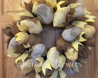 Burlap Wreath - Deco Mesh Wreath - Goldenrod Yellow Wreath - Fall Wreath - Autumn Wreath