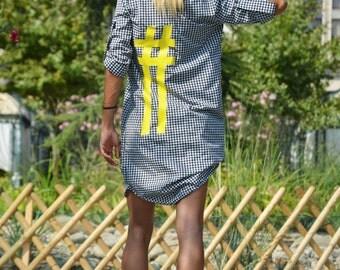 New Sexy Shepherds Plaid Shirt With Hashtag, Oversize Elegant Long Shirt, Stylish Cotton Maxi Shirt by SSDfashion