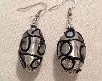 Glass bead with black hand painted striped earrings