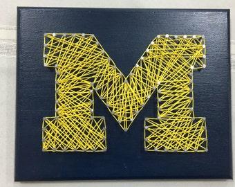 Univeristy of Michigan logo string art
