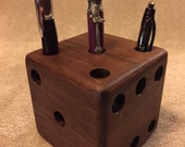 Dice Pen & Pencil Holder Solid American Walnut Desk Organizer