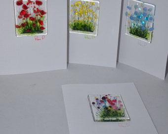 Handmade Fused Glass Art - Cards - Poppy, Daisy, Wild Flowers, Cornflowers