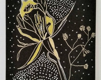 A4 Giclee Print of illustration of a Gold Rose