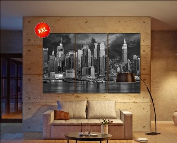 Manhattan New York canvas wall art art  large  black white canvas wall art print Manhattan New York City Cityscape skyline City Office Decor