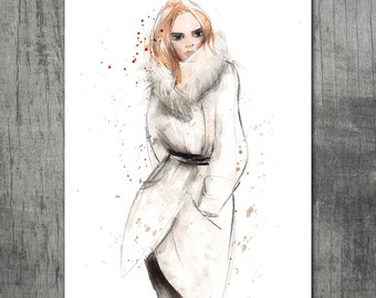 Big Watercolor print: Winter fashion girl