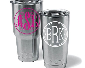 Yeti Cup Monograms! Yeti Decal Personalzied! 5 styles - 23 color Choices