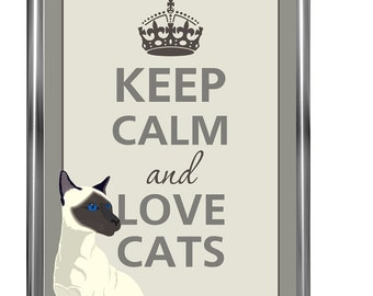 Art Print - Keep Calm Art -  Prints - Posters - Cat poster - Love Cat - Siamese cat - Keep calm posters