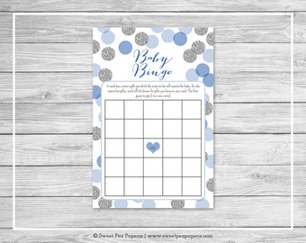 Blue and Silver Baby Shower Baby Bingo Game - Printable Baby Shower Baby Bingo Game - Blue and Silver Baby Shower - Baby Bingo Game - SP124
