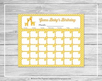 Giraffe Baby Shower Guess Baby's Birthday - Printable Baby Shower Guess Baby's Birthday - Yellow Giraffe Baby Shower - Baby Birthday - SP131
