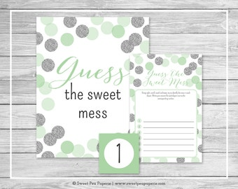 Mint and Silver Baby Shower Guess The Mess Game - Printable Baby Shower Guess The Sweet Mess Game - Mint and Silver Baby Shower - SP125