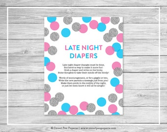 Pink and Blue Gender Reveal Late Night Diapers Sign - Printable Gender Reveal Late Night Diapers - Pink Blue Silver Gender Reveal - SP113