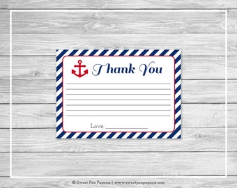 Nautical Baby Shower Thank You Cards - Printable Baby Shower Thank You Cards - Navy Red Baby Shower - Thank You Cards - SP118