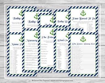 Nautical Baby Shower Games - 10 Printable Baby Shower Games - Navy Green Baby Shower - Baby Shower Games Package - Baby Shower Games - SP120