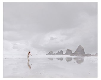 8x10 - Free Domestic Shipping - Oregon Coast Fine Art Print -  Self Portrait - Clouds - Fog - Seastacks