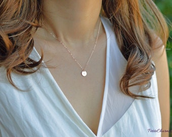 SALE - Petite PINK Rose Gold Tag on Rose Gold Filled Chain, Delicate Simple Everyday Rose Gold Necklace, Minimal Layering, Valentine Gifts