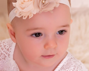 Newborn Baby girl toddler . flower headband.antique style headband. christening headband. baptism headband