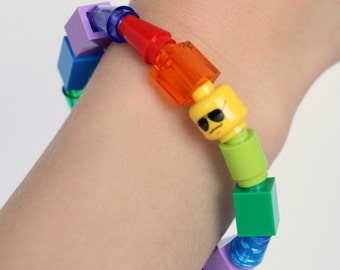 Kids Rainbow 1 x 1 Bracelet made with LEGO® pieces- Solid and Translucent Cones, Tubes, Bricks - Jewelry made with LEGO® pieces