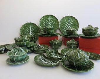 Mid-Century Modern Cabbage Dinnerware Set With Cemar Contrasting Under Liner Plates, Made In Portugal.