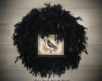 Halloween Wreath, Black Feather Wreath, Crow Wreath, Halloween Decoration, Halloween Feather Wreath,