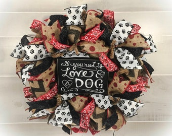 Dog Wreath, Burlap Dog Wreath, Puppy Wreath, Pet Wreath, Animal Wreath, Paw Print Wreath, Dog Lover Wreath, Vet Wreath, Dog Decor