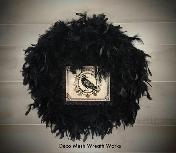 Black Flower And Crow Halloween Wreath: Halloween Wreath Feather Wreath Crow Wreath Black Feather