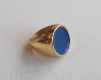 Handmade silver ring ,Goldplated silver ring, Blue color,Color inlay,Signet Ring