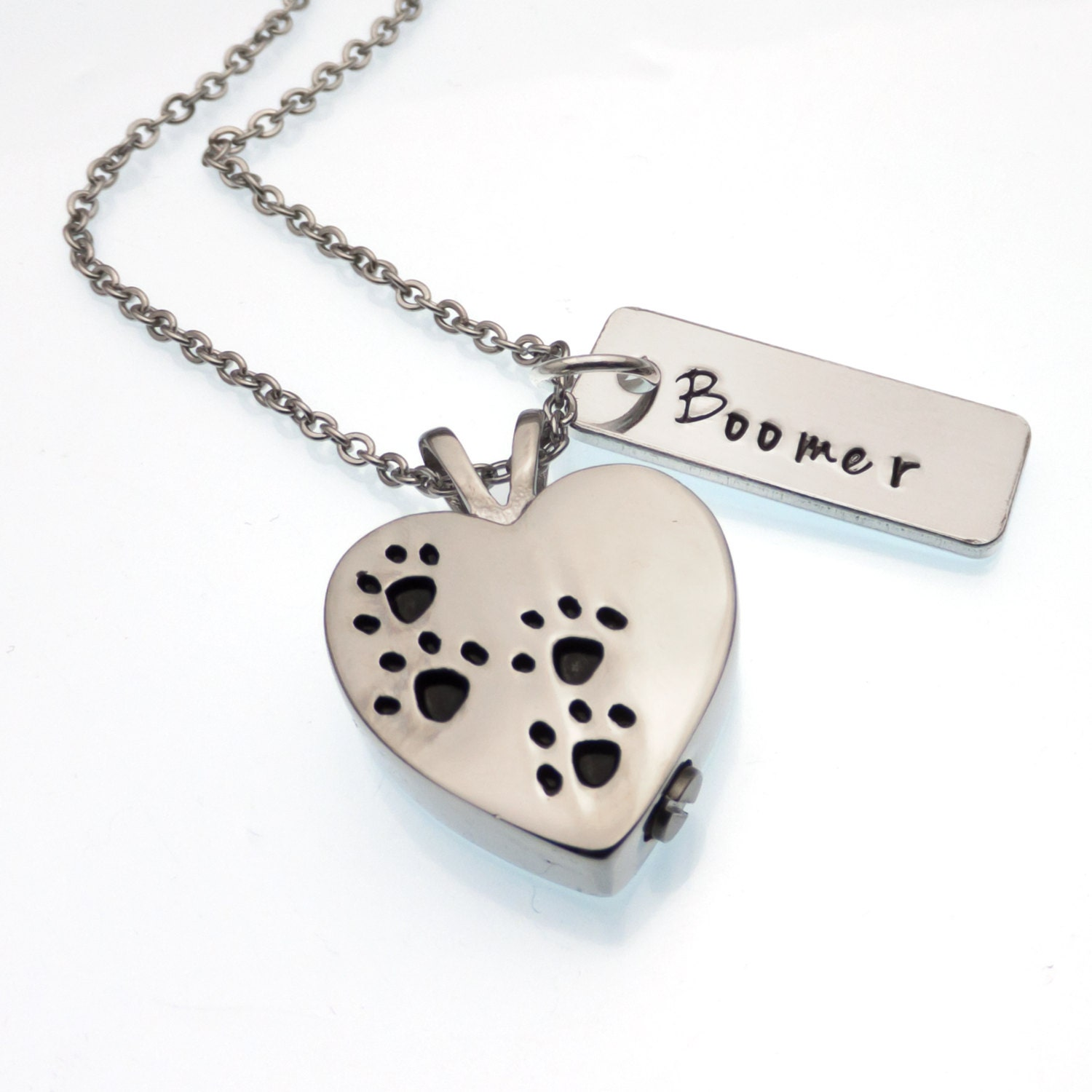 Heart pet urn necklace cremation jewelry paw print for Cremation jewelry for pets ashes