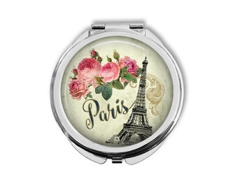 Paris Mirror, Paris Compact Mirror, Purse Mirror, Pocket Mirror, Paris Gift