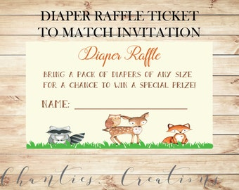 Woodland Baby Shower Diaper Raffle Tickets & Sign Printable