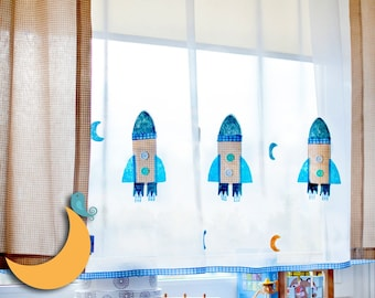 Kids voile curtain with hand made apllications of  Grey Rackets,
