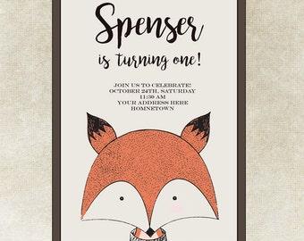 Fox birthday invitation - Woodland fox invitation - Fall birthday invitation -  Boy birthday - Modern Fox birthday - Animals - Digital