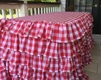 Ruffled gingham tablecloth