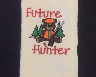 Future Hunter Embroidered Burp Cloth