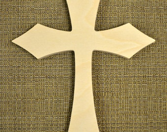Wooden Cross Cutout Unpainted - Wood Cross Wall Decor - Unfinished Cross Crafting Supplies, Paint It Yourself Cross (Style 001)