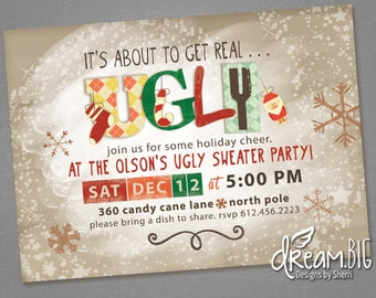 Christmas Holiday Ugly Sweater Party Invitation Retro - Printable - Customize