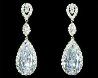 Bridal Earrings, Long Drop Cubic Zirconia Earrings,  Wedding Earrings, Crystal Drop Earrings, Clear Crystal Earrings,Party Earrings