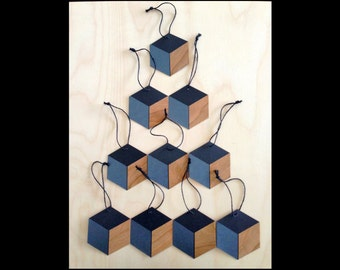 Geometric Ornaments. Black/Charcoal/Wood. Hexagonal Tags.
