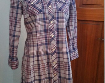Vintage Tommy Hillfiger Snap Front Shirt Dress. Size Small/Petite