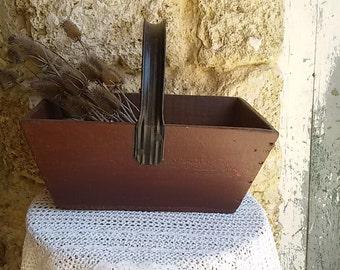 Vintage wooden basket / harvest Champagne french harvest basket/french wood wooden basket/basket