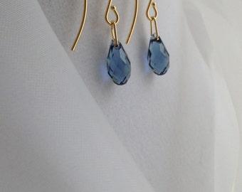 Gold Filled - Beautiful Blue Swarovski Crystal Briolette Earrings
