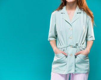 Vintage Mint Green Blouse, Long Short-Sleeve Blouse, Buttoned up blouse 70s, 80s, longline belted shirt