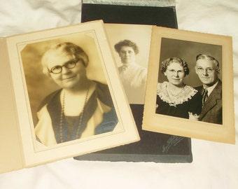 3 Bespectacled Women • Vintage black & white Photo Lot