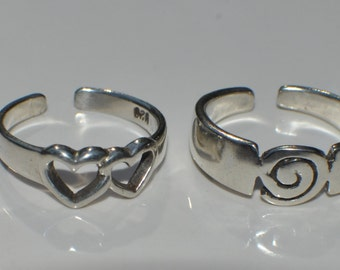 Sterling silver swirl toe ring, sizable