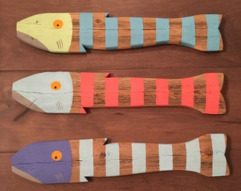 SET OF 3 - Wooden Fish Nautical Fish Decor - Reclaimed Fish - Reclaimed Picket Fence Fish