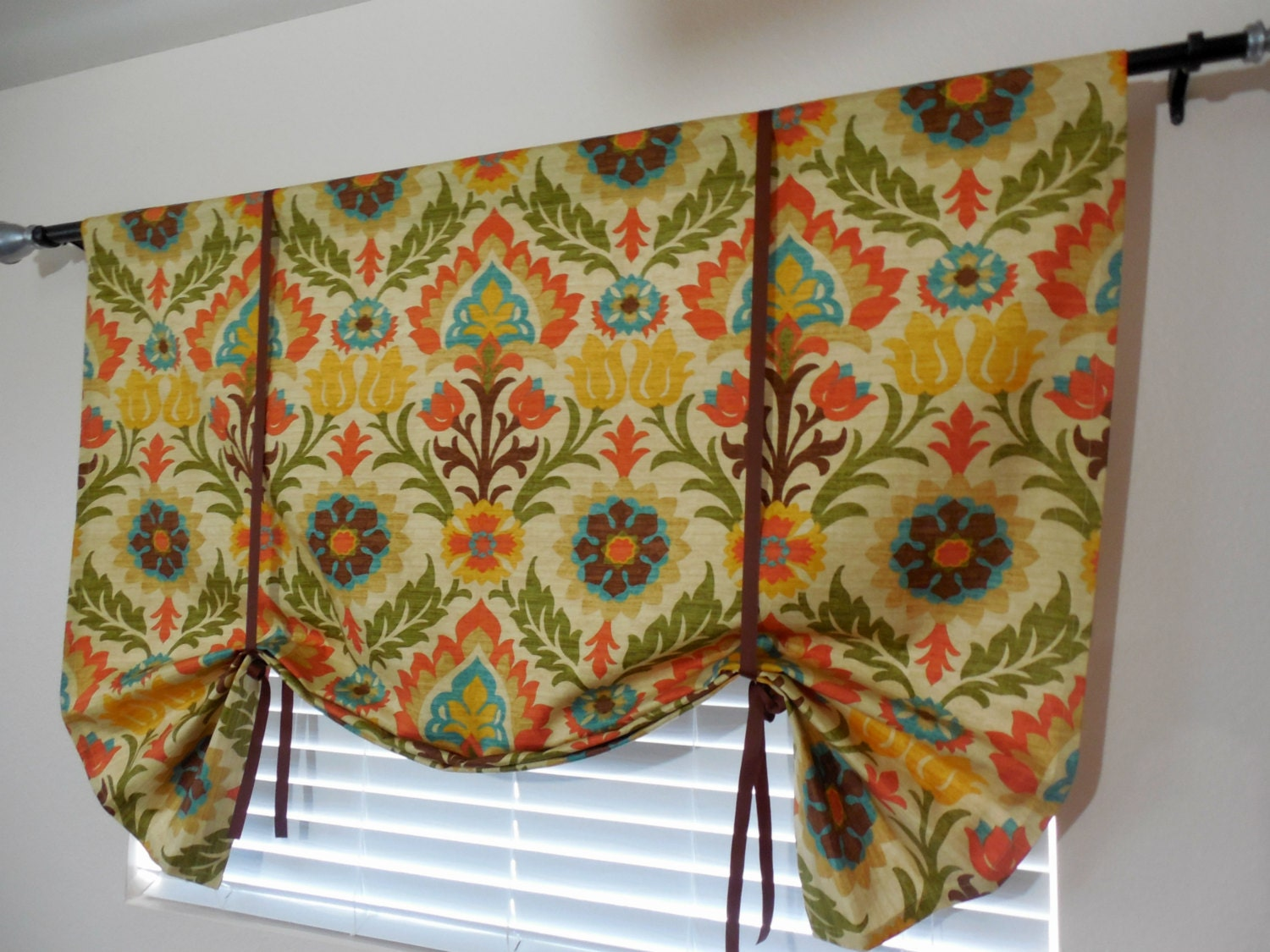 Window Curtain Tie Up Valance Roll Up Shade Floral Valance