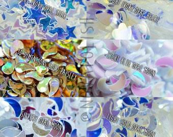 NOVA polish's Nail Art Glitter- Opal Glitters, Moon Glitters, Star Glitters, Heart Glitter, Gold, Silver, Reflective Glitter, Craft (Sample)