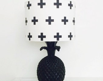 Black Cross Drum Lampshade for Children's Interior Decor