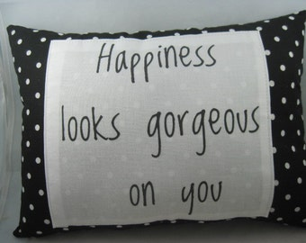 word pillows,quote pillows,polka dot pillow,pillows with sayings,pillows for couch,black and white decor.pillows handmade