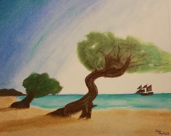 Pirate Cove Pastel Drawing