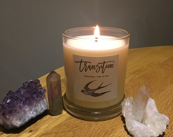 Pure Soy Candle Reiki Charged with Intention for Ritual- Transition